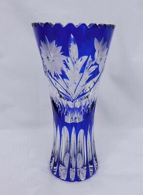 Vintage Bohemian Glass Blue Cut to Clear Crystal Floral Vase