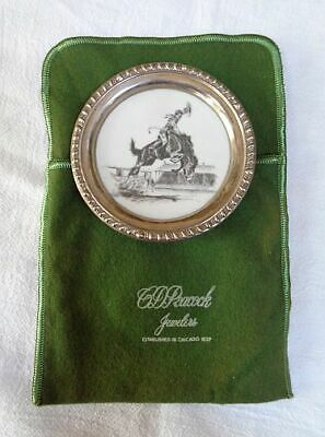 Vintage FRANK M WHITING Sterling SILVER RIM Delano Studios RODEO Coaster