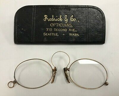 Antique 14K Solid Gold Pince Nez Glasses-Old Seattle Collectible, Leather Case