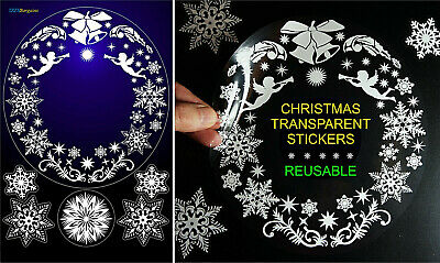 CHRISTMAS WREATH SNOWFLAKES ANGELS STICKERS REUSABLE HOME WINDOW DECORATIONS .