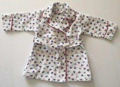 Vintage Tom n' Jerry Boys Toddler Size 2 Bath Robe Piping Trains White Red Trim