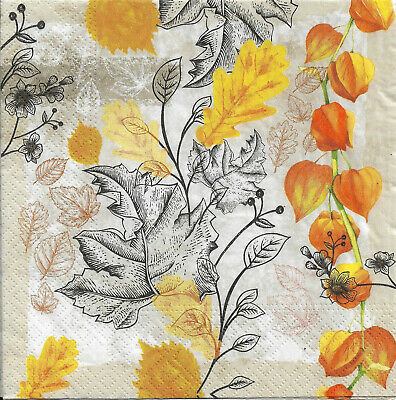 Lot de 2 Serviettes en papier Feuilles Automne Decoupage Collage Decopatch