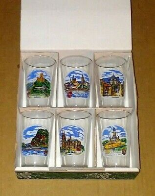 Vintage German SOUVENIR set of 6 Clear Gold Rimmed Shot Glasses BRAND NEW in Box
