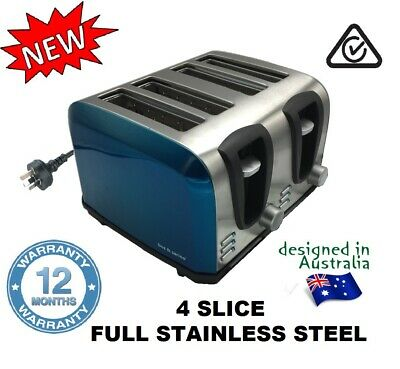 4 Slice BLUE Toaster FULL Stainless Steel 2 Sets of Controls to save Electricity