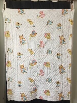Vintage Hand Embroidered Nursery Rhyme Baby Quilted Wall Hanging 70's