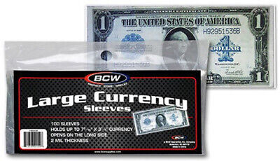 (400) Bcw Large Us Dollar Bill Banknote Soft Poly Currency Paper Money Sleeves