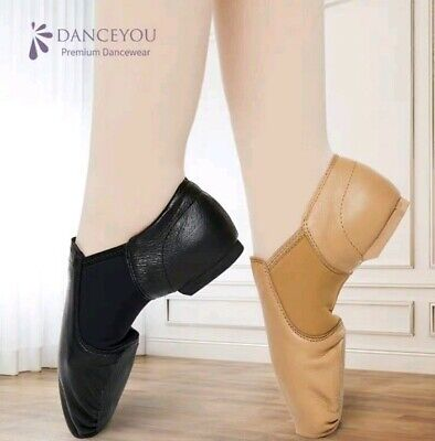 Soft Leather Slip on  Leather Upper Jazz Shoes Tan 19.5cm