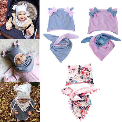 Baby Hat Scarf Set Beanie Cap Bow Warm Cotton Kids Boys Girls Winter Autumn