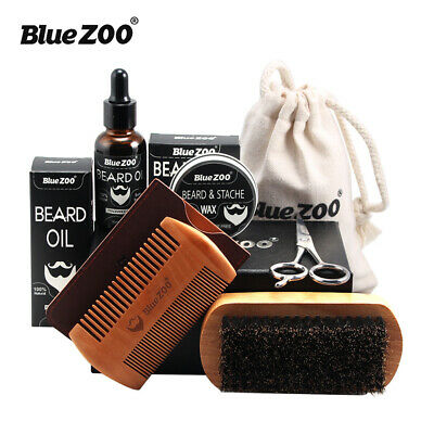 7X Men Beard Oil Balm Comb Brush Scissors Bag Mustache Styling Care Makeup Kit