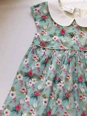 Handmade dress in tropical fabric with collar and piping age 6-7