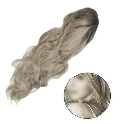 Women Ombre Blonde Wigs Long Curly Wavy Full Hair Daily Dress Choppy Layerd
