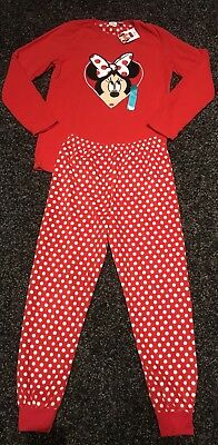 Primark Kids Girls Red Disney Minnie Mouse Cosy Fleece Pyjamas 11-12 Years