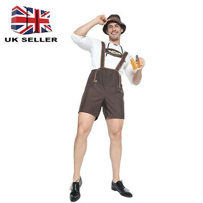 Adults Mens Oktoberfest Beer Guy Costume Bavarian Lederhosen Shirt Hat Outfit