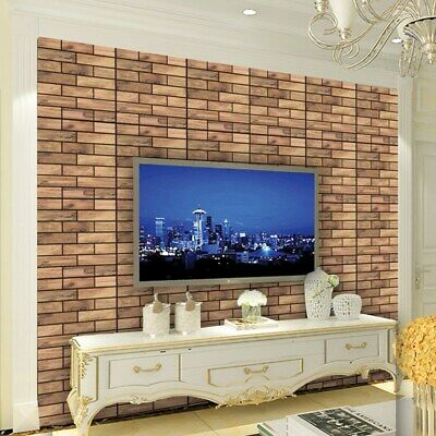 3D Wall Sticker Tile Decal Removable Adhesive Wallpaper Decor Wood Effect 1PC