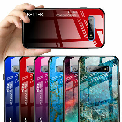 Hybrid Marble Temper Glass Back Case Cover for Samsung Galaxy S10 S9 Note10 Plus