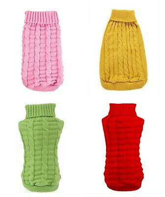 Cute Cable Knitted Cat Dog Jumper Pet Clothes Sweater For Small Dogs