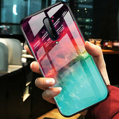 Slim Hybrid Gradient Marble Tempered Glass Hard Case Cover for One Plus 7 7 Pro