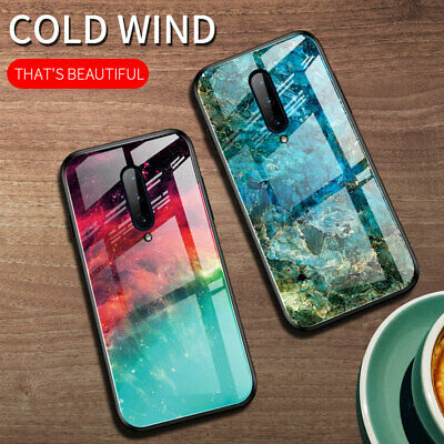 For One Plus 7 Pro Gradient Tempered Glass Case Hybrid Bumper Marble Back Cover