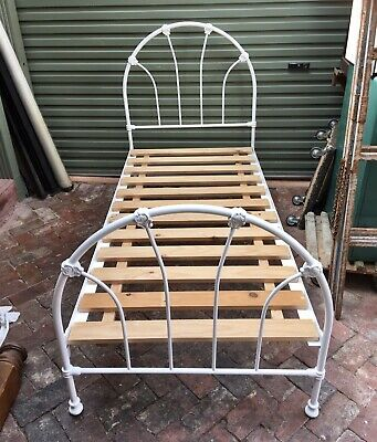 Antique Style Cast Iron Single Bed, Frame and Slats