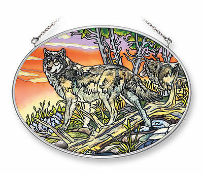 """Amia Stained Glass Suncatcher 5.5"""" X 7"""" Oval End Of The Day Wolf  #42218"""