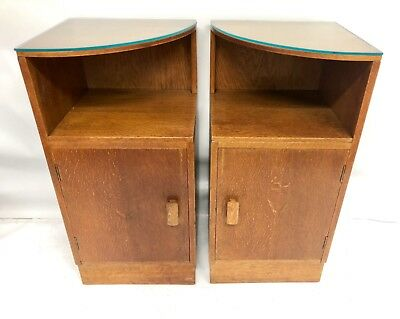 Antique English Pair ART DECO Oak Bedside Cabinets Cupboards Tables Nighstands