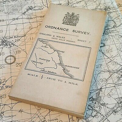 1912 Whitby England British Map Vintage Ordnance Survey Os Antique Old