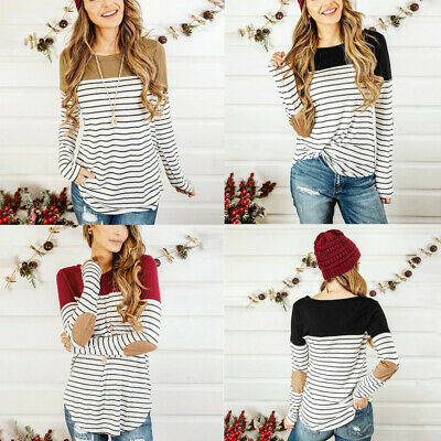Womens Ladies Maternity Long Sleeve Striped Nursing Tops T-shirt Breastfeeding
