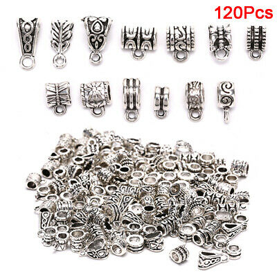 20Pcs Tibetan Silver Tube Charm Connector Bail Jewelry Findings D3152