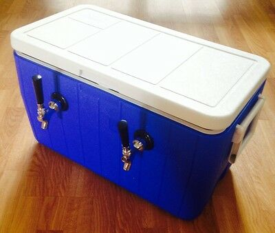 Portable Kegerator Beer Jockey Box Tap Keg Double Faucet Draw 50' Coil Cooler