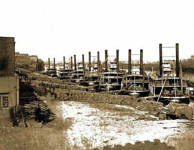 """RI Vintage Photograph 8.5/"""" x 11/"""" Reprint 1906 Steamers on the River Providence"""