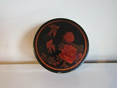 Antique Oriental Black & Red Lacquered Hand Painted Trinket Storage Box Pot
