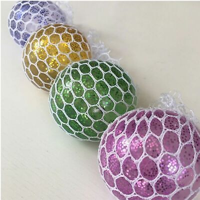 5CM glitter Colorful Grape Squishy Mesh Stress Ball Reliever Squeeze box of 24