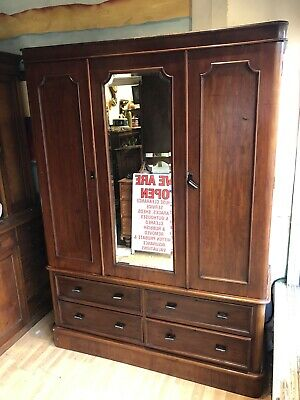 Decorative Antique Victorian Double Mahogany Wardrobe Ideal Tricky Stairs Etc