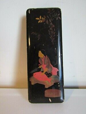Antique Oriental Black Lacquered Hand Painted Rectangular Trinket Storage Box