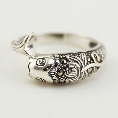 925 Sterling Silver Chinese Men Women Marcasite Lotus Fish Zen Yoga Ring A3094