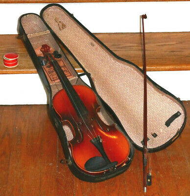 Vintage Old Violin and Bow AS ISAS FOUND Attic Barn Estate Find