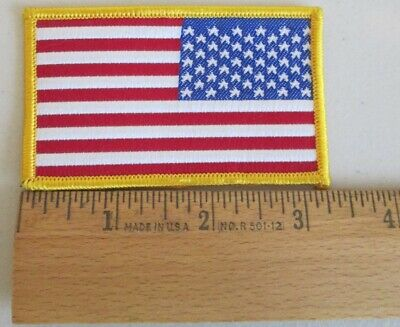 """REVERSE USA AMERICAN FLAG EMBROIDERED PATCH IRON SEW-ON GOLD BORDER 3 5//8/"""" wide"""