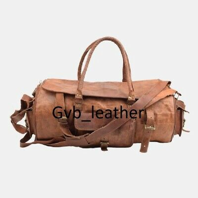 """30"""" Men's Leather Travel Duffel Luggage Vintage Weekend Overnight Round Flap Bag"""
