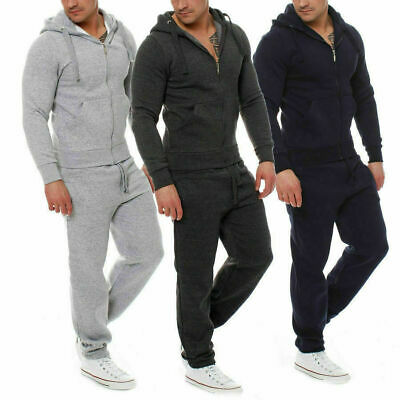 New Men Plain Full ZIp up Basic Tracksuit Hoodie Jogger Set
