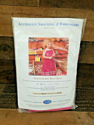 Australian Smocking and Embroidery Pre-Pleated Kit #73 Sealed Strawberry Bon Bon