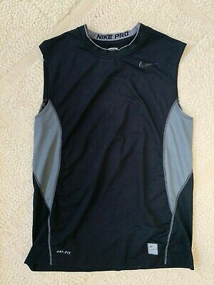 Men's Nike Pro Combat Tank Top Muscle Fitted  Black Compression Training Medium