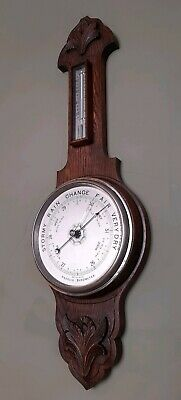 Large Antique Hand Carved Oak Wood Aneroid Barometer Thermometer
