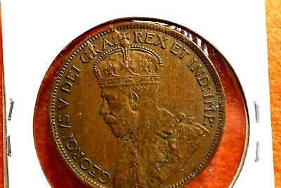 1916  GEORGE V  CANADIAN LARGE  CENT  VF+ TONED  BROWN        GREAT type coin