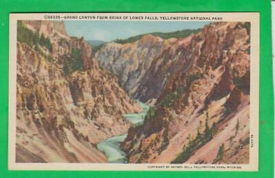 Postcard ~ Grand Canyon from brink of lower falls Yellowstone Park ~ Vintage 946