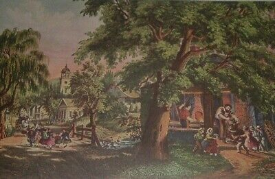 """1974 Vintage Currier /& Ives /""""THE VILLAGE BLACKSMITH/"""" with POEM COLOR Lithograph"""