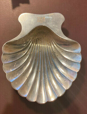 Tiffany & Co. Sterling Silver Scallop Clam Shell Footed Monogram Ashtray Dish A