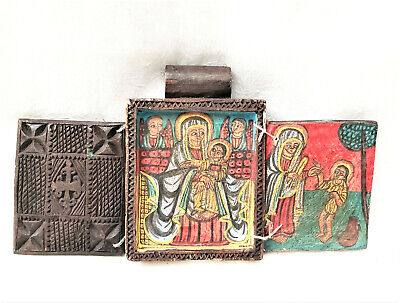 antique Ethiopian Coptic Christian Hand-painted Wood Icon Triptych