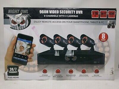 Open Box, Night Owl 8-Channel 4 Cameras, 960H Video Security DVR, 1TB HDD