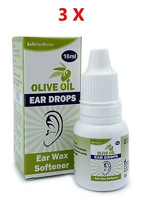 3 x Bells Olive Oil Ear Wax Drops with Dropper Softens and Removes 10ml Eardrops