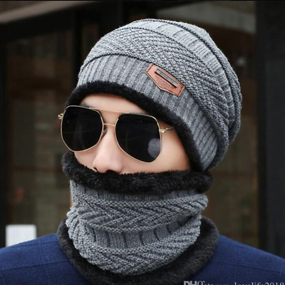 Mens Beanie Hat Winter Warm Woolly Hats Thick knit Ribbed Hiking Outdoor Caps UK